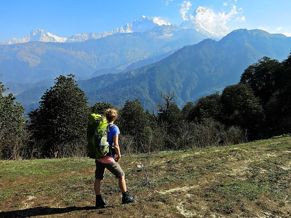 Mein erster freier Blick zu Nilgiri, Annapurna I und Annapurna South.
