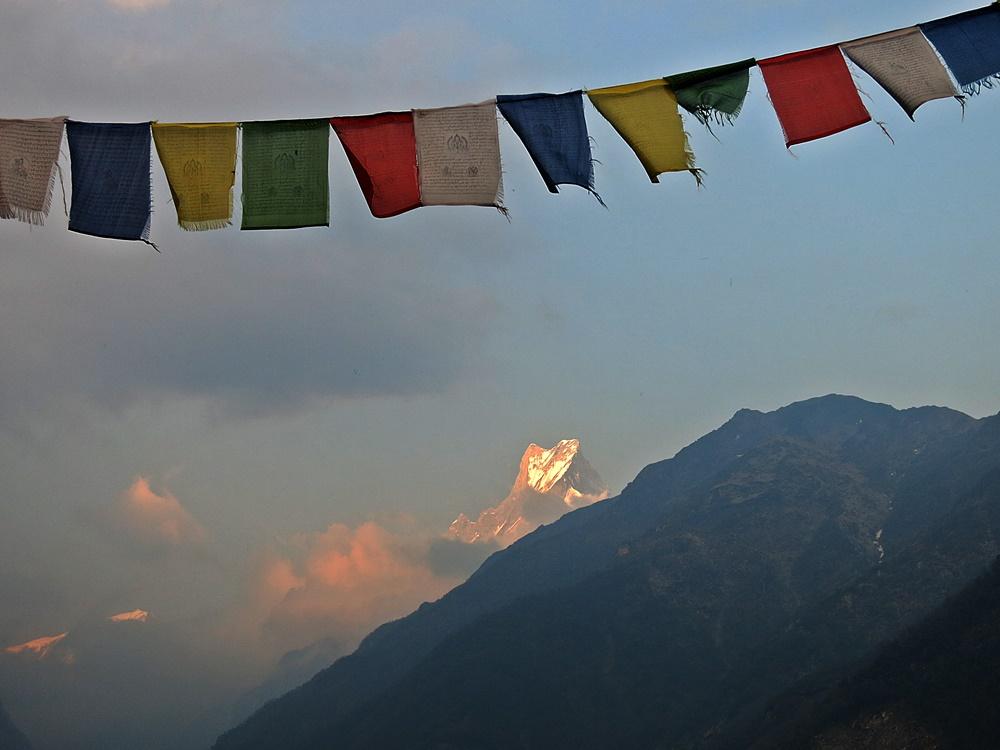 Nepal Trekking Annapurna. In Sicht Machhapuchre