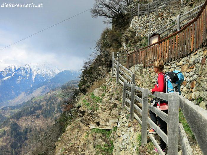 Meraner Land, Südtirol, Vinschgau, Vellau, Vellauer Felsenweg, Waalwege